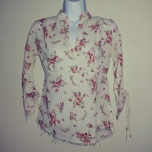 Wet Seal Floral Print Long Sleeve Casual Shirt